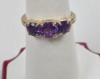 Natural Amethyst Diamond Ring 10kt Yellow Gold