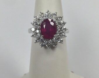 Natural Ruby Diamond Ring 14kt White Gold