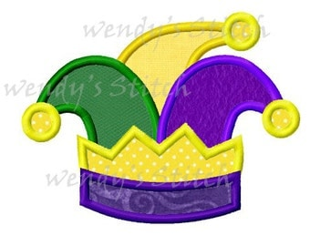 Mardi gras jester hat applique machine embroidery design instant download