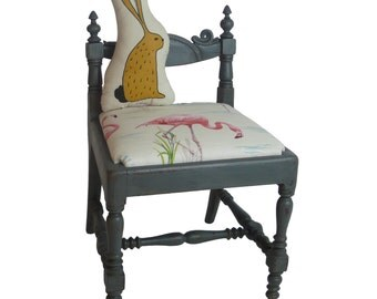 Child's chair/ hand painted/ upholstered furniture/ flamingo fabric/ seating/ nursery
