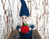 Blue Gnome Needle Felted with an Apple for the Teacher