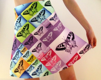 bright skirt, rainbow skirt, rainbow skirts, colorful skirt, bright skirts, butterfly skirts, butterfly dresses, butterfly prints, butterfly