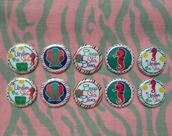 """Deep Sea Diva Buttons, Under The Sea, Seahorse Buttons, 1"""" Flatback Buttons, 10 Buttons Total"""