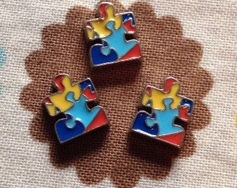 Autism awareness puzzle piece/heart floating locket charm