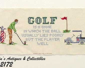 Vintage Cross Stitch Golfing Sampler Ready to Be Framed (Inventory #M2172)
