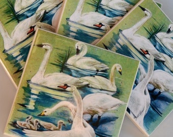 Ceramic Tile Coasters - Retro Swans