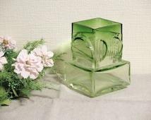 Vintage Green Glass Vase, Modernist Finland Turun Hopea, 1970s @101
