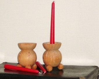 Swedish Wood Candle Holders, Set of 2, Traditional Scandinavian Wooden Candle Sticks, Folk Art, Scandinavian Design @100