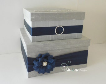 Wedding Gift Card holder / Wedding card box / Wedding money box / Wedding Gift Card Box / 2 Tier Card Box (Silver/Light Grey & Navy Blue)