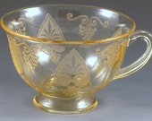 Fostoria Trojan Etched Topaz Yellow Footed Fairfax Cup  Elegant Depression Glass Vintage Glassware Etch