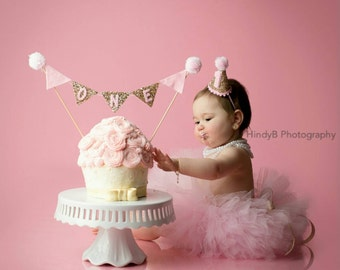 CAKE Bunting Flag Banner and Mini Party Hat Set for Cake Smash | Birthday Hat | Baby Hat | First Birthday Hat | Pink and Gold Birthday