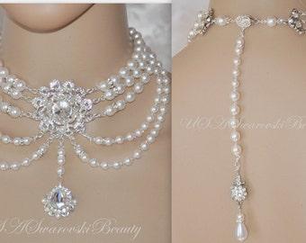 Bridal Bridesmade Gatsby jewelry  Vintage wedding 1920's  Swarovski Choker Necklace Back Drop Bride Choker Wedding Jewelry Bridesmaid