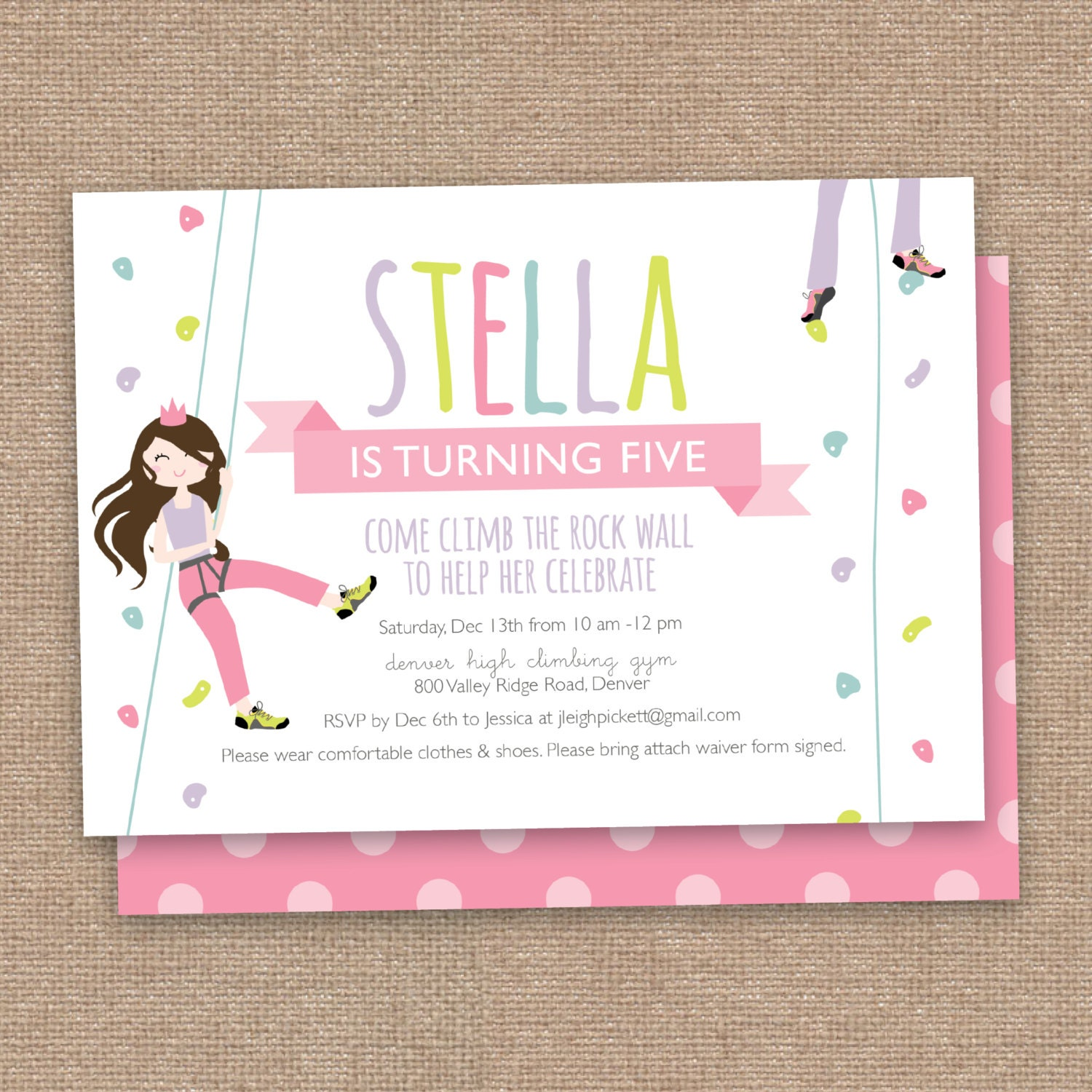 Rock Climbing Birthday Party Invitations Free Quotes