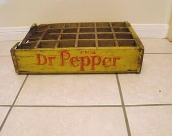 Vintage Dr. Pepper 24 pocket wooden crate