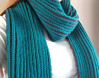 Teal & Purple Brioche Knit Scarf