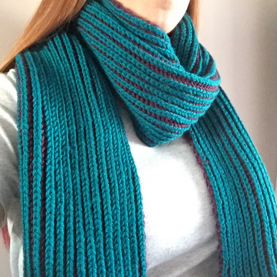 Knitting Brioche Stitch Scarf : Teal & Purple Brioche Knit Scarf