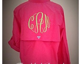 Fishing Shirt| Monogram Columbia PFG| Columbia PFG long sleeve monogrammed shirts| Monogram fishing shirt