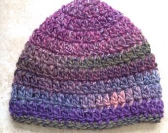 Wool acrylic mix, multicoloured earthy rainbow crochet beanie baby hat, handmade, 6-12 months size