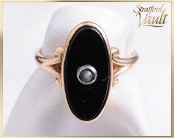 Antique ~ Victorian Black Onyx & Pearl Ring ~ 14K Yellow Gold ~ 14 x 6 mm Oval Black Onyx ~ 1mm Fresh Water Pearl ~ STR_003 ~ 750.00