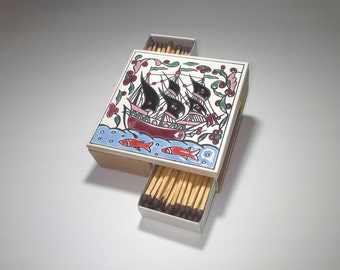 Retro Ceramic Match Holder, Ceramic Matchbox, Ceramic Art,  Ceramic Match Holder, Matches Matchbox, Wooden Matchbox, Greek Ceramic