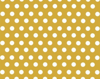 Gold with white polka dot pattern craft  vinyl sheet - HTV or Adhesive Vinyl -  medium polka dots HTV1622