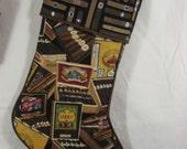 Christmas stocking; stocking; gift stocking; Cigar-themed Christmas stocking; man cave stocking