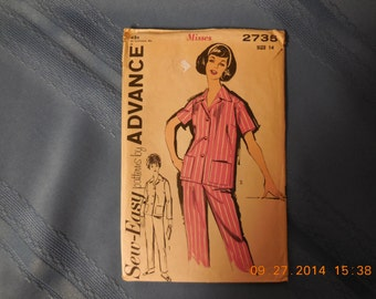 Advance sewing pattern for ladies pajamas size 14.