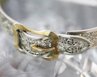Stunning 20s Sterling and Vermeil Filigree Bracelet