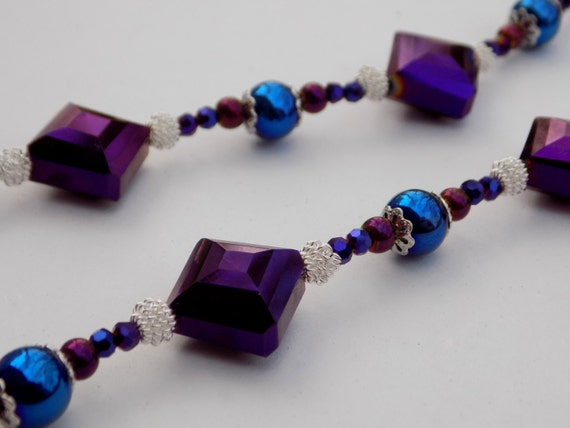 beaded eyeglass holder blue and purple by diannesfinethings