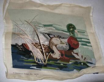 Vintage mallard ducks on pond needlepoint needs completed kit male female Candamar Designs