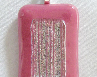 Dichroic Silver & Pink Pendant on Pink Glass