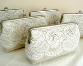 Bridesmaid Lace Clutch Set of 5, Linen Lace Clutch Set, Personalized Wedding Lace Clutch, Seven Inch Frame
