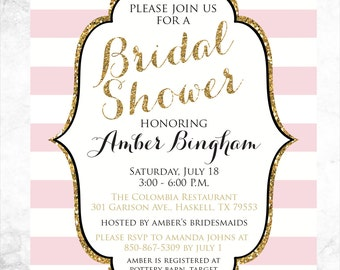 Pink and Gold Wedding Shower Invitation - Modern Wedding Shower Invitation - Printable Invitation - Bridal Shower
