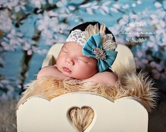 Baby Headband Bow Blue Dupoini Silk Ivory Headband with Sparkling Rhinestone Lace Elastic Baby Girl Toddler Girl