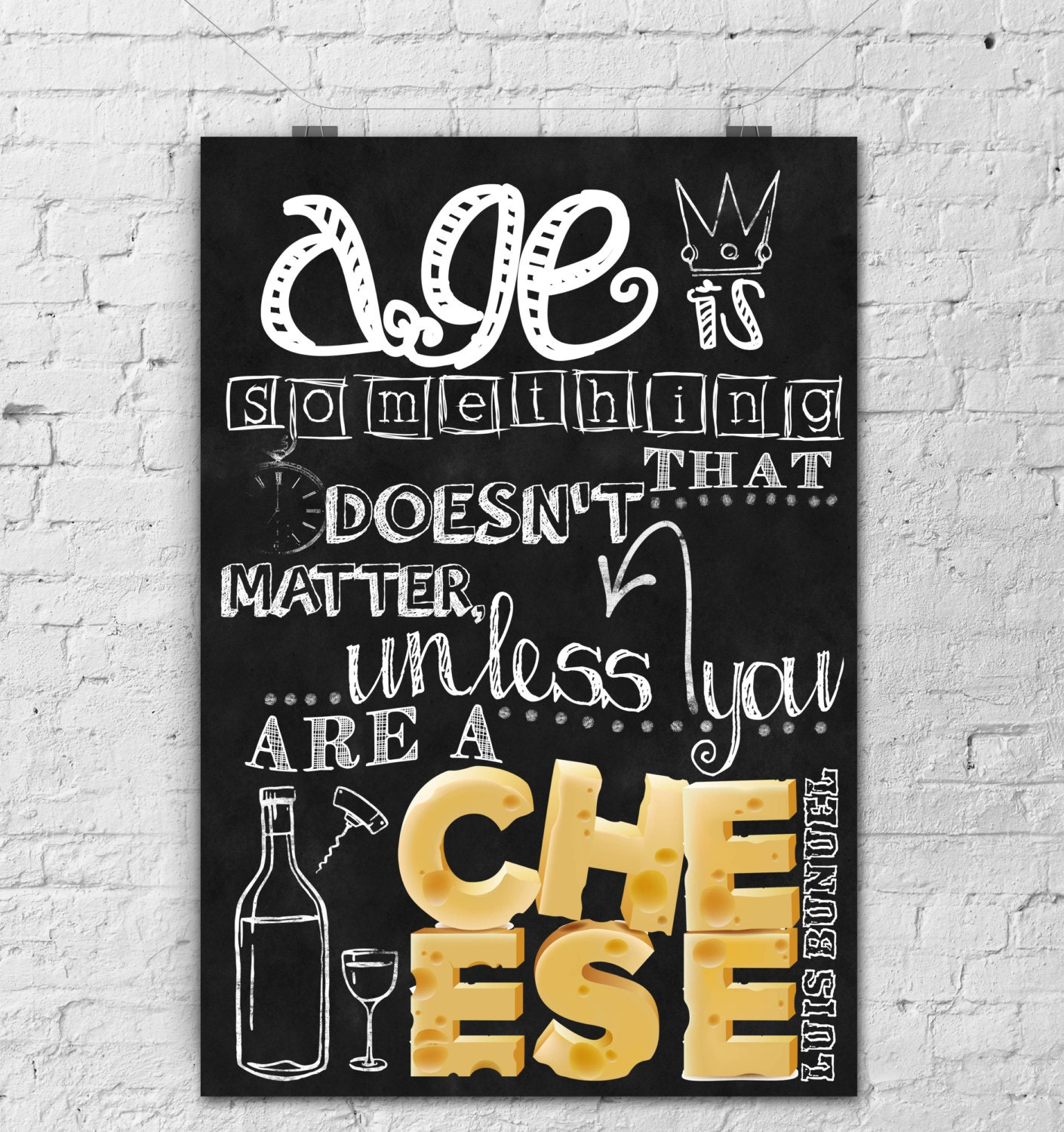 Kitchen Chalkboard Quotes: Chalkboard Art-Kitchen Art-Cheese By TimelessMemoryPrints