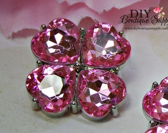 Valentine Hearts Pink Rhinestone Buttons Crystal Buttons Flower center Buttons Hair Bow Buttons 23 mm Embellishments Scrapbooking 814035