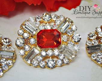 Large Gold RED Rhinestone Buttons Red Crystal Buttons Flatback Embellishment for Shoe Clips Bows flower centers 3pc 25x28mm 811045