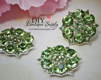 Large Green Rhinestone Buttons Crystal buttons Metal flatback Embellishment For Baby Headbands Hair Bow flowers centers 3 pcs 26mm 867031