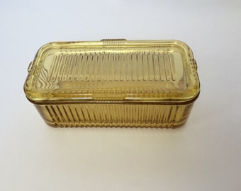 Vintage Amber Glass Refrigerator Container