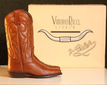 Vittorio Ricci Leather Vintage Women's Studio Country Western Rider Cowboy BOOTS 6.5 M  Marx & Newman Co