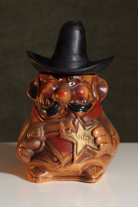 vintage sheriff cookie jar old west western badge gun