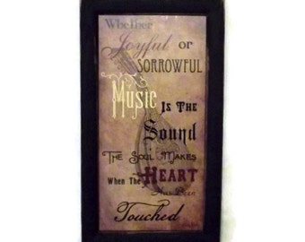Music is the Sound the Soul Makes.. Music Picture, Home decor, Wall Hanging, Art Print, Sign, Handmade, 21X12 Custom Wood Frame, Made in USA