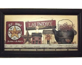 Laundry Room Country Sign Art Print Primitive Decor Wall Decor Wall