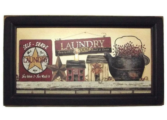 laundry room country sign art print primitive decor wall