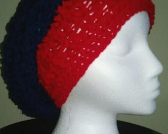 Navy and Red slouch hat. Crochet Handmade Womens Girls Accessories
