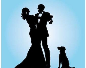 acrylic wedding Cake Topper Silhouette, custom dog Wedding Cake Topper, Bride and Groom silhouette wedding Cake Topper, dancer cake topper