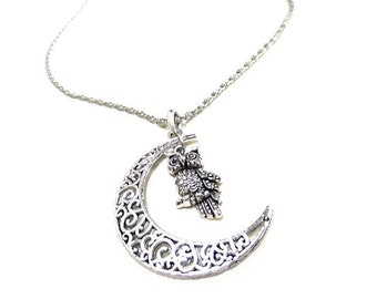 SALE! Silver Moon and Owl Necklace, Crescent Moon Necklace, Silver Owl Necklace, Night Owl Necklace, Gift, Owl Lovers Gift, Silver Moon,Owls