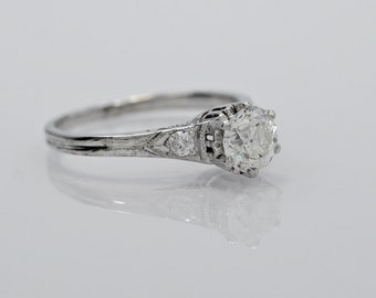 18K White Gold .50ct. Diamond Art Deco Engagement Ring - J34882