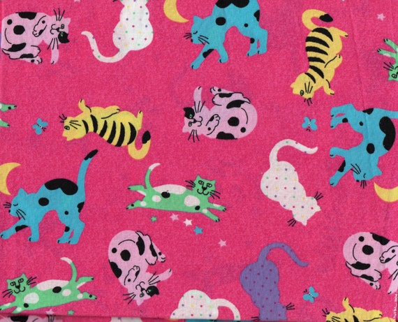 Cats quilt fabric colorful cats w stars and moon on dark for Fabric with moons and stars