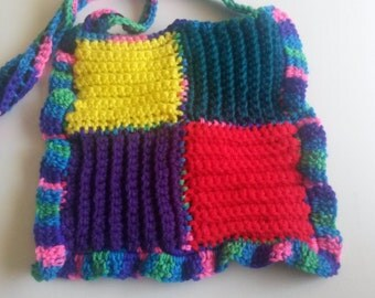 Bright ruffled patchwork purse